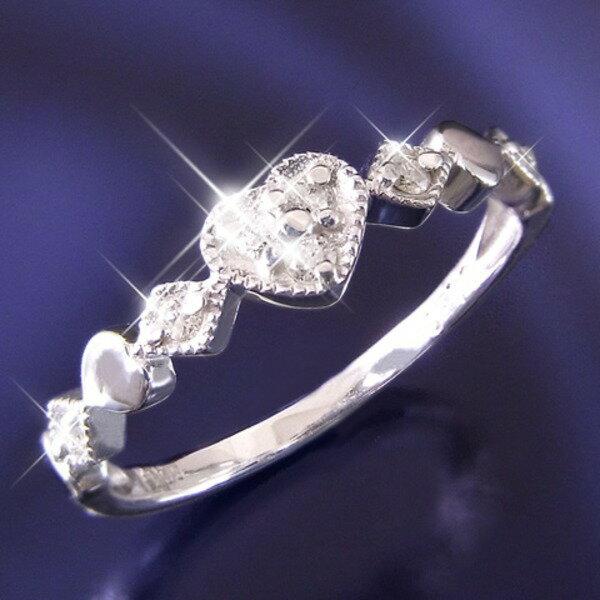 【ポイント5倍】ハートダイヤリング 指輪 セブンストーンリング 7号 送料無料! トランプのハートとダイヤを繋ぎ合わせデザイン。ながい