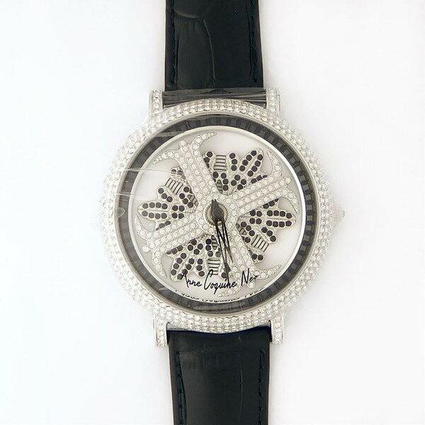 アンコキーヌ ネオ 45mm バイカラー ミニクロス シルバーベゼル インナーベゼルブラック ブラックベルト アルバ 正規品(腕時計・グルグル時計) 送料無料! 正規品 回転ウォッチのパイオニア Anne Coquine Neo
