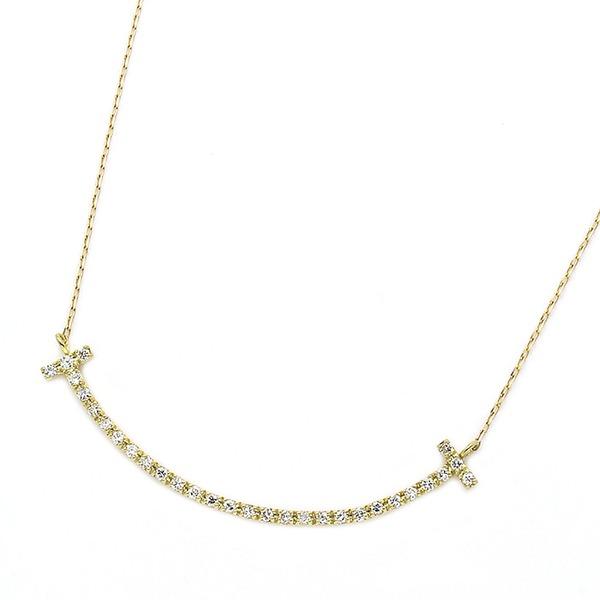 ダイヤモンド ネックレス K18 イエローゴールド 0.2ct スマイリー ダイヤネックレス シンプル ペンダント 送料無料! ダイヤモンド ネックレス K18 0.2カラット スマイル