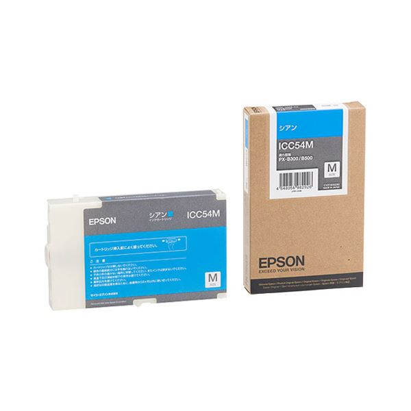 (まとめ) エプソン EPSON インクカートリッジ シアン Mサイズ ICC54M 1個 【×3セット】 送料無料! インクカートリッジ 純正インクカートリッジ細い