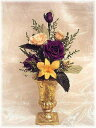 お仏壇神棚のお供えアレンジ紫のバラゴールド花器付きプリザーブドフラワー【RCP】[PW]