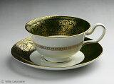 【威基伍德】furorentin 绿色&黄金茶杯&碟子(Pioknee)[英国WEDGWOOD! 美しいグリーン&ゴールドがシックで華やか!【ウエッジウッド】フロレンティーン グリーン&ゴールド カップ&ソーサー(ピオ