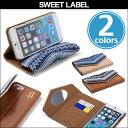 iPhone 8 / iPhone 7 / 6s / 6 用 SWEET LABEL Folklore Denim Case for iPhone 8 / iPhone 7 / 6s / 6 / 手帳型 ミラー ケース カードポケット シンラクリエイション ストラップホール