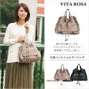 ショッピングVita VITA ROSA 巾着ハンドバッグ ショルダーバッグ ヴィタローザ VR-2985 ベージュ(トープ) ブラック