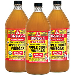 ブラグ(Bragg) オーガニック アップルサイダービネガー 946ml×3本セット日本未発売。飲む健康酢。非濾過・非加熱・非低温殺菌ナチュラルりんご酢(有機リンゴ酢)ドリンク。ガラス容器入。健康、ダイエット。スティーブ・ジョブズや<strong>レディー・ガガ</strong>が愛したローフード