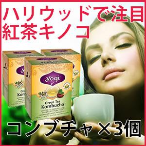 コンブチャ(コンブ茶) 16ティーバッグ×3箱 yogi tea(ヨギティー)のKombucha(こんぶちゃ、こんぶ茶)オーガニック緑茶と紅茶キノコ(紅茶きのこ)のコラボ ハリウッドで火がついたハーブティーでダイエット ミント味をブレンドして飲みやすい