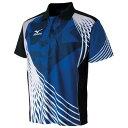 ゲームシャツ(卓球) (25サーフブルー×ブラック) 【MIZUNO】ミズノ 卓球 ウエア (82JA600625)*30