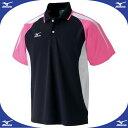 網球 - ゲームシャツ (94ブラック×ピンク)【MIZUNO】ミズノ●テニス ウエア ゲームウエア(A75HB21094)*66