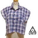 UNIFユニフ チェック柄ショートシャツ インポート