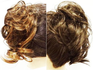ウイッグ シュシュ ポニー 『レイヤーセミロング カール』 〔ヘアゴム 部分 ウィッグ かつら 巻髪 ヘアピース シュシュウィッグ〕
