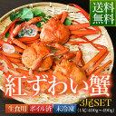 送料無料 鳥取県 境港産 ボイル 紅ずわい蟹 A級 3尾SET(1尾400〜490g)【紅ずわい400A3尾】