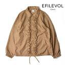【送料無料】エフィレボル アウター ジャケット フリル Decorated Coach Jacket メンズ レディース ベージュ 春 カジュアル 襟 EFILEVOL