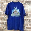 ショッピングミッキー Disney by Hanes 半袖 プリントTシャツ Lサイズ ミッキー 青 ブルー 古着卸 アメリカ仕入 t206-4472