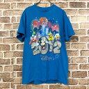 ショッピングミッキー Disney 半袖 プリントTシャツ Mサイズ ミッキー 2012 水色 ブルー 古着卸 アメリカ仕入 t206-4625