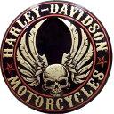 ハーレーダビッドソン ブリキ看板 ドーム型 メタル プレート Harley Davidson Flying Skull Button バイク アメリカン雑貨 アメリカ 雑貨 ハーレー インテリア グッズ 世田谷ベース ガレージ 看板