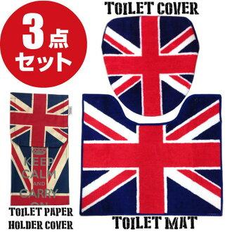 美國廁所墊 & 蓋三點集的聯盟傑克衛生紙蓋英國國旗岩石配件馬桶墊輪胎蓋馬桶墊設置廁所織物內政美國國旗英國