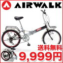 20 inches of six steps of AIR WALK( air walk) folding bicycle steel frame shifting BLACK [26-May]