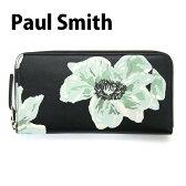ポールスミス Paul Smith 財布 長財布 メンズ ラウンドファスナー ブラック×フラワープリント WNXA 4609 W738 B