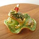 ショッピング箱 かえる カエル 蛙 宝石箱 ジュエリーボックス ジュエリーBOX アクセサリーケース 小物入れ 小物収納 置物 プレゼント 贈り物 お誕生日 プレゼント お祝い おしゃれ【お買得品】エナメルBOX 殿様蛙(小) 緑