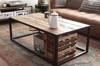 センターテーブルリビングテーブルコーヒーテーブルカフェテーブルおしゃれカフェ風ニレ無垢木製天然木古材かっこいいナチュラルアンティークスチールミッドセンチュリー北欧送料込み【送料無料】コーヒーテーブル110