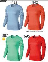 レディースランニングマイラーTシャツドライシャツカットソーnikeDRI-FITクルーネック長袖/686905