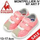 キッズ ベビー シューズ 女の子/le coq sportif ルコック モンペリエ lV NY ART F/スニーカー 子供靴 13-17.5cm ピンク 花柄 フラワー ベルクロ かわいい 靴/QL5MJC56 PF