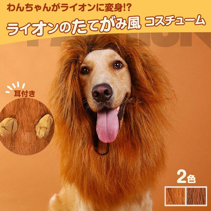 犬用コスチュームライオンたてがみ犬用被り物かぶりもの耳付き変身グッズペット用ウィッグ◇F-CS027