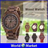 メンズ Wood Watch 腕時計 木製 自然木 シンプル アンティーク風 薄型 手作り 防水 夜光針付き ◇UW-1001