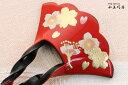 かんざし 一本挿し 変わりバチ型 赤黒漆調台 蒔絵 二色桜5輪RV