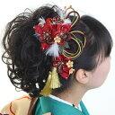 髪飾り 2点セット 和装 花 成人式 卒業式 結婚式 パーティ 浴衣 夏祭り  和modern 丸打組紐 透かし桜 〈赤〉RV