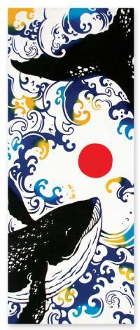 ◆メール便OK♪合計2500円(税抜)以上でメール便送料無料◆【気音間(けねま)手ぬぐい】恵比寿鯨(えびすくじら)〜縁起柄〜05P03Dec16