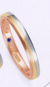 ★RomanticBlue ロマンティックブルーPT900プラチナ/K18YG イエローゴールド/K18PGピンクゴールド4B5001(22)マリッジリング・結婚指輪・ペアリング用(1本) ★お買い得特別価格、刻印、ケース、送料無料。 消費税込★