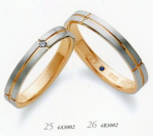 ★RomanticBlueロマンティックブルー4A3002(ダイヤ)(25)&4B3002(26)ー2本セットマリッジリング・結婚指輪・ペアリング ★お買い得特別価格、刻印、ケース、送料無料。 消費税込★