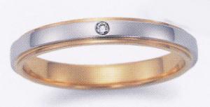 ★お買い得特別価格★EBP-12LEnbrasser Purest(アンブラッセ ピュアレスト 純プラチナ Pt-999)& 純金 (K24-999)(ダイヤ1個付)マリッジリング、結婚指輪、ペアリング用(1本) ★刻印、ケース、送料無料。 消費税込★