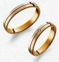 楽天JEWELRY LANDTrue Love トゥルーラブ (33) M375 & (34) M375D ダイヤ =2本セット 卸直営店お得な特別割引価格 Pt900 プラチナ & K18PG ピンクゴールド マリッジリング 結婚指輪 ペアリング