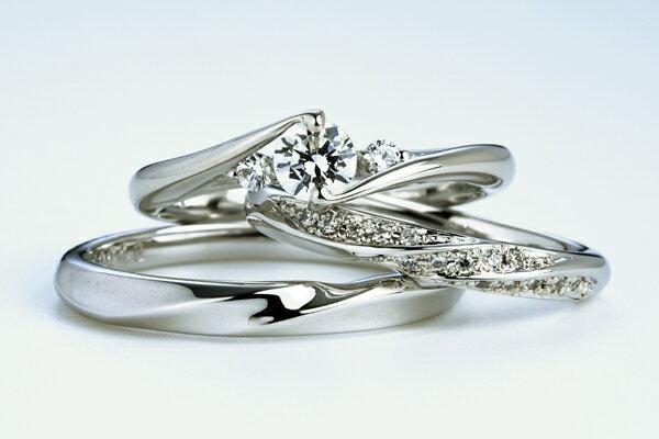 0.4ct.ダイヤモンド婚約指輪(エンゲージリング)/結婚指輪(マリッジリング)3本セットPRF024-04(ベコニア)【当店のオリジナル製品】 ★刻印、ケース、き手数料、送料無料。 消費税込★