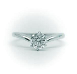 1.0ct.D-VS1-3EX(H&C)PTプラチナ婚約指輪(エンゲージリング)ダイヤモンドリング、V字タイプ6本爪(鑑定書付)