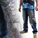 【SALE】【J171-7】和柄 ジーンズ 不動明王/龍柄!和柄ジーンズ 和柄ジーパン 和柄刺繍ジーンズ 刺繍ジーパン 和柄刺繍ジーンズ USEDストーンウォッシュ加工 和柄刺繍約90万針にも及ぶ密度の高い高級刺繍 さとり 和柄刺繍!!