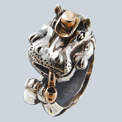 かばの紳士リング(カバリング) 送料無料 動物モチーフ 指輪 指環 18金 K18ピンクゴールド シルバーアクセサリー  SILVER925 女性 男性 プレゼント ギフト対応