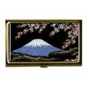 蒔絵カードケース(ゴールド)富士に桜