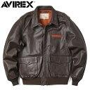 AVIREX アビレックス 6181061 A-2 レザーフライトジャケット PLAIN / メンズ ミリタリー アウター 革ジャン《WIP》ミリタリー 軍物 メ..