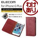 iPhone6 Plus ケース ソフトレザーカバー 手帳型ケース 360°回転スタンド機能付 レッド:PM-A14LPLF360RD 【税込3240円以上で送料無料】[訳あり] [ELECOM(エレコム):エレコムわけありショップ]