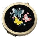 和刺繍コンパクトミラー 蝶 スーベニール Japanese flower pattern embroidered compact mirror