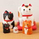 和紙置物 はりこーシカ招き猫(柄) 5匹 Lucky cat made of Japanese paper