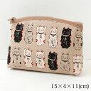 笑福猫のねこづくしポーチ ベージュ 化粧ポーチ Lucky cat pattern pouch