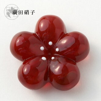 Hirota glass glass chopstick rest plum Red