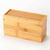 竹の弁当箱 スス細長二段弁当箱 シール蓋付き Lunch box of bamboo