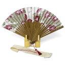 扇子・7寸25間:麻にこだわりステキな柄遊nakagawa 麻の扇子女性用 7寸25間 朝顔赤紫