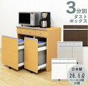 ダストボックス キッチンカウンター ペール付き ゴミ箱 キッチン 収納 3分別 キッチン用ごみ箱 幅90cm キャスター付き 引き出し付き 送料無料