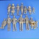 商用ディスプレイ向け人形 1/25人形住宅模型建築模型フィギュア14体 ミニカー鉄道模型などなど【未塗装】【肌色】